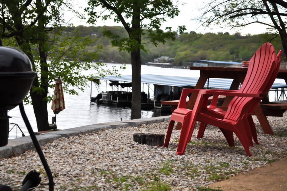 grill and chair lakeside